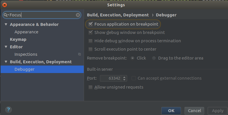 PhpStorm Settings: Focus application on breakpoint